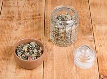 Dry herbal tea stock images