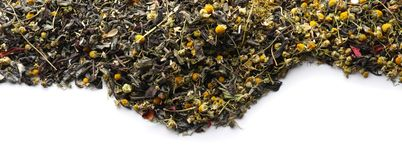 Dry herbal tea on white background royalty free stock images