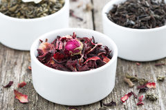 Dry herbal teas in white bowls Royalty Free Stock Images