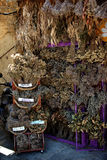 Dry Herbs. Local stand with exposed dry herbs for sale Royalty Free Stock Photo