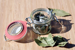 Dry herbs with salt and laurel Royalty Free Stock Photo