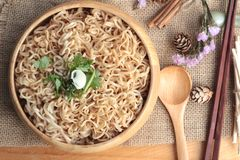 Dry Instant noodles cooked with vegetables. Stock Photography