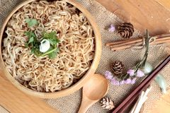 Dry Instant noodles cooked with vegetables. Royalty Free Stock Photos