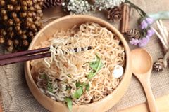 Dry Instant noodles cooked with vegetables. Royalty Free Stock Photography