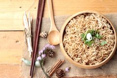Dry Instant noodles cooked with vegetables. Stock Photo