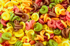 Dry italian pasta in five colours Royalty Free Stock Photos