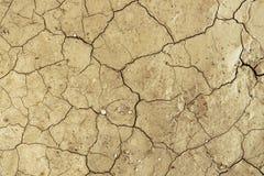 Dry knäckte modellen för textur för smutsökenbakgrund Arkivbilder