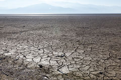 Dry lake bed with natural texture of cracked clay in perspective Royalty Free Stock Photo