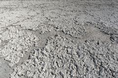 Dry lake bed with natural texture of cracked clay and salt on the ground cause of dehydration for a long time, Nxai Pan National. Park, Botswana royalty free stock image