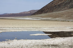 Dry lake in Death Valley. Dry hot Badwater salty sand in Death Valley, California Royalty Free Stock Photography
