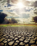 Dry lake and dramatic sky Stock Photo