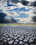 Dry lake and dramatic sky Stock Photography