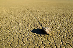 Dry lake feature with sailing stones Stock Photo