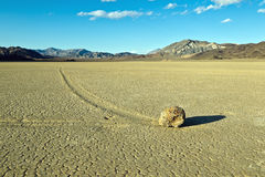 Dry lake feature with sailing stones Stock Photos