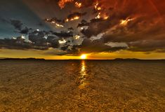 Dry Lake Sunset HDR Royalty Free Stock Image