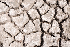 Dry Lakebed. Closeup of dried out lake bed during a drought in wetland environment with deep grooves and cracked surface texture Royalty Free Stock Image