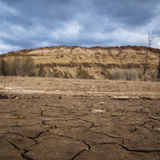 Dry land by global warming. Climate change produce water scarcity and dry lake in Argentina, South america Royalty Free Stock Photo