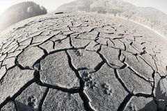 Footprints in Zone of ecological destruction stock photos