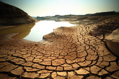 Dry land. Dry soil texture on the ground Stock Photos