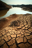 Dry land. Dry soil texture on the ground Royalty Free Stock Image