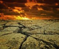 Dry landscape. Sunset on a hot dry landscape royalty free stock photo