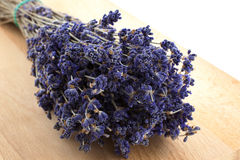 Dry lavender bunch on a wood board Royalty Free Stock Photography