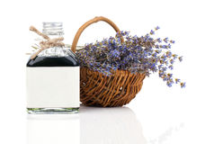 Dry lavender flower in a basket with lavender water Stock Photography