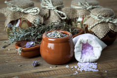 Dry lavender flowers with bath salt Royalty Free Stock Photo