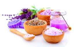 Dry Lavender herbs and bath salt Royalty Free Stock Photo