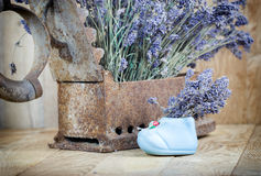 Dry lavender and rustic (rusty) iron Stock Photography