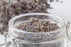 Dry lavender tea closeup. Selective focus royalty free stock images