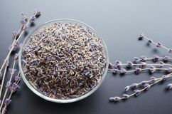 Dry lavender tea. Glass bowl with dried lavender tea and lavender flowers bouquet over grey board background stock image
