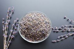 Dry lavender tea. Glass bowl with dried lavender tea and lavender flowers bouquet over grey board background royalty free stock photos