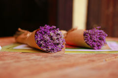 Dry lavender. Two bunches of lavenders on a wood table Stock Photos