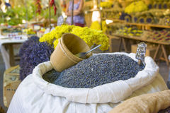 Dry lavenders in a bag on the market at Provence France. Dry lavenders flowers in a bag on the market at Provence France Stock Photo