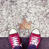 Dry leaf on the asphalt and the feet of a young man Stock Photos