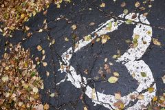 Dry leaves. Drawing heart on the pavement. Wet path. Dark asphalt Stock Photography