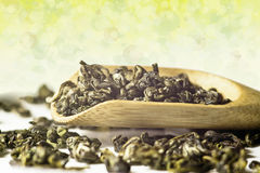 Dry leaves of green tea Royalty Free Stock Photo