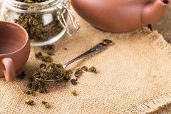 Dry leaves of green tea in a glass jar Stock Image
