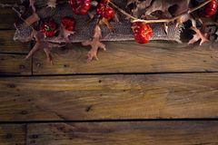 Dry leaves and mistletoe on wooden plank Royalty Free Stock Photo