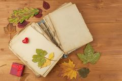 Dry leaves and old book on wooden background. Autumn romance. The book of romantic tales. Royalty Free Stock Images