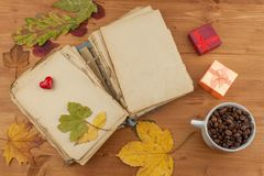 Dry leaves and old book on wooden background. Autumn romance. The book of romantic tales. Stock Photos