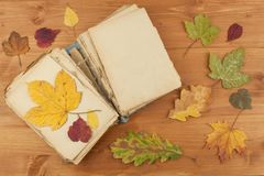 Dry leaves and old book on wooden background. Autumn romance. The book of romantic tales. Royalty Free Stock Photos