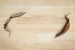 Dry leaves on wooden floor, background in design space. For text Stock Photography