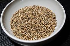 Hemp seeds in the bowl. Slovakia stock photo
