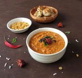 Dry lentil curry. A very healthy ,quick and delicious dry curry made with yellow lentil and Indian spices Stock Photo