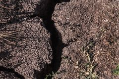Dry ground with crack stock photos