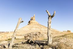 Dry logs and the castle in Montuenga de Soria on a summer day, Spain. Dry logs and a view of the castle in Montuenga on a summer day, province of Soria, Spain royalty free stock photo
