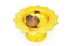 Dry lotus on tray with pedestal Stock Photo