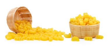 Dry macaroni in the basket Stock Photo